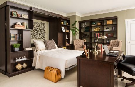 Murphy bed & custom designed organization spaces